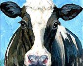 Holstein Cow Farm Animal Art 8x10 Original Painting by Dottie Dracos, Black and White Holstein Cow on Blue