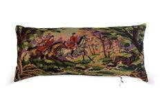 Needlepoint Equestrian Hunt Body Pillow