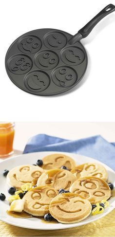 Prepare the most delicious & different smiley face pancakes for a wonderful breakfast with this funny smiley face pancake pan. It has seven different smiley face style that can produce amazing & funny pancakes. The non-stick surface of it makes an easy cleanup and it\'s made of cast aluminum that ensure to heat evenly and produce golden color pancakes. Price $22.63