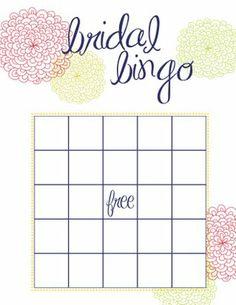 Blank Bridal Shower Bingo Cards   Calendar