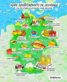 Food Map of Germany - Travel - - Currywurst - Brunch Berlin, Sauce Pour Porc, Octopus Recipes, Incredible Eggs, Food Map, Sicilian Recipes, Learn German, Best Food Ever, Best Dishes