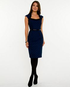 Diamond Print Fitted Dress - A miniature belt at the waist of a diamond print fitted dress creates a sophisticated silhouette.