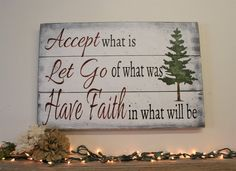 Inspirational Wall Decor - Accept What Is - Pallet Sign - Cabin Decor - Housewarming Gift - Rustic Home Decor - Farmhouse Decor -Rustic Sign Wood Pallet Signs, Pallet Art, Wood Pallets, Wooden Signs, Painted Pallets, Pallet Painting, Wooden Plaques, Diy Furniture Projects, Diy Pallet Projects