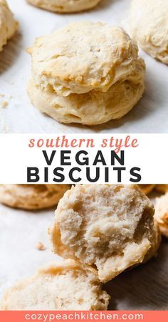 Step by step guide for soft and fluffy Southern style vegan biscuits. Step by step guide for soft and fluffy Southern style vegan biscuits. Gourmet Recipes, Whole Food Recipes, Vegetarian Recipes, Cooking Recipes, Healthy Recipes, Vegan Baking Recipes, Healthy Baking, Copycat Recipes, Dinner Recipes