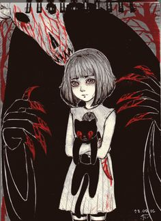 The darkness is behind you. Coraline, Creepy Games, Creepy Art, Vocaloid, Bow Drawing, Little Misfortune, Bow Art, Arte Robot, Fanart