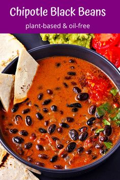 Saucy chipotle black beans is just the insanely simple and delicious recipe you've been looking for (even if you haven't been looking). Make big bowls of spicy and creamy black beans for a full flavor, plant-based dinner in 30 minutes or less and get ready for rave reviews and immediate requests for a repeat performance. This recipe is a beginner's dream and an expert's failsafe. #anothermusicinadifferentkitchen #blackbeans #plantbased Vegan Dinner Recipes, Whole Food Recipes, Healthy Recipes, Chili Recipes, Eat Healthy, Free Recipes, Cooking For Beginners, Recipes For Beginners, Veggie Side Dishes