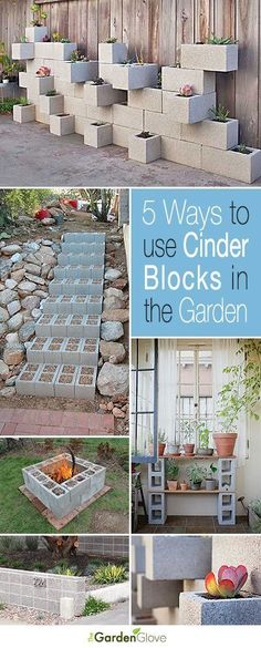 Garden Landscaping Ideas 5 Ways to Use Cinder Blocks in the Garden Lots of creative projects ideas and tutorials!Garden Landscaping Ideas 5 Ways to Use Cinder Blocks in the Garden Lots of creative projects ideas and tutorials! Backyard Projects, Outdoor Projects, Garden Projects, Diy Projects, Backyard Ideas, Garden Ideas Diy Cheap, Diy Ideas, Mosaic Projects, Cinder Block Garden