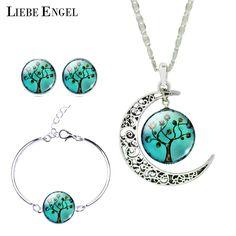 LIEBE ENGEL Vintage Silver Color Jewelry Sets Tree Picture Glass Moon Necklace Stud Earrings Bracelet Bangle Sets Women 2017