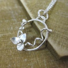 Floral sterling silver pendant by Bay Design