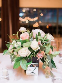 Pink And White Rose Wedding Centerpiece With Mirror Table Numbers Rustic Centerpieces Flower