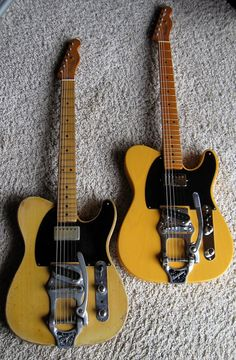 """Bob Bain's 1953 Fender Telecaster (left), and modern copy. The original is the guitar used on the """"Peter Gunn"""" Theme!"""