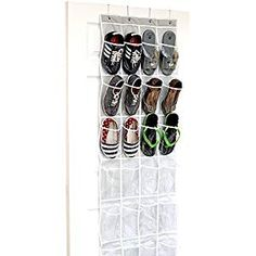 24 Pockets - SimpleHouseware Crystal Clear Over the Door Hanging Shoe Organizer, Gray x * To view further for this item, visit the image link. (This is an affiliate link) Diy Organizer, Over The Door Organizer, Hanging Shoe Organizer, Over The Door Hooks, Hanging Storage, Pocket Organizer, Pantry Storage, Closet Storage, Diy Storage