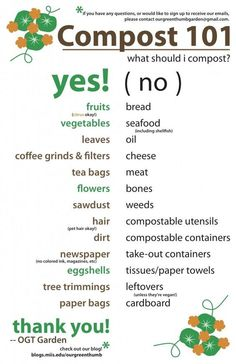 Printable for what to compost & what not to compost: