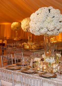 Tall white centerpieces would help fill the space and look classic in our Poinsett Ballroom Art Deco Wedding, Floral Wedding, Wedding Flowers, Elegant Wedding, Reception Party, Wedding Reception Decorations, Wedding Venues, Hamptons Wedding, The Hamptons