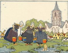 """Dutch Girls Illustration from the book """"Tales Told in Holland"""", edited by Olive Beaupre Miller and illustrated by Maud & Misko Petersham. Copyright 1926."""