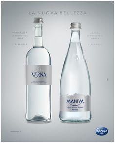 Bottiglie per la ristorazione dalle linee eleganti e innovative. Acqua Maniva e Acqua Verna.