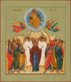 The Ascension icon Typical Russian, Greek Icons, Russian Icons, Biblical Art, Orthodox Icons, Kirchen, Pictures To Draw, Painting & Drawing, Creations