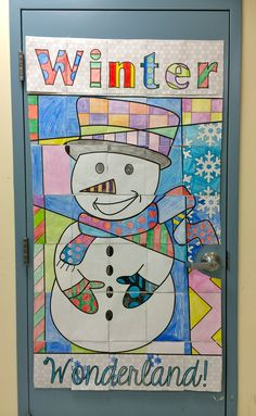 Winter wonderland snowman collaborative door poster. Easy for the teacher (really easy) and fun for the kids!