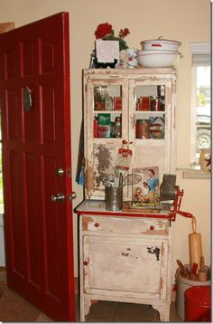 Red Hoosier:  inspiration....forget the refinish,  I should just paint mine and put it in the kitchen so I can enjoy it.....