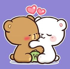 Cute Love Pictures, Cute Love Gif, Cute Love Couple, Cartoon Wallpaper, Love Wallpaper, Relationship Drawings, Chibi Cat, Emoji Pictures, Bunny And Bear