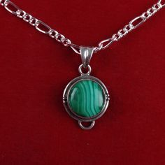 I'm auctioning 'Vintage Sterling Silver Malachite Pendant Necklace CB454|We combine shipping|No Question Refunds|Bid over $60 for free shipping' on #tophatter