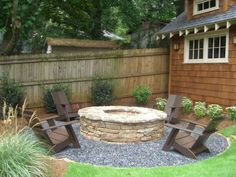 New Pea Gravel Patio Project! & Backyard Inspiration Inexpensive Backyard Landscaping and fire pit for those slightly cooler nights in late summer early fall :) Fire Pit Backyard, Backyard Patio, Backyard Landscaping, Landscaping Ideas, Patio Ideas, Firepit Ideas, Backyard Seating, Backyard Retreat, Sloped Backyard