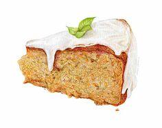 Glazed Carrot Cake // Food Illustration // Archival Art Print