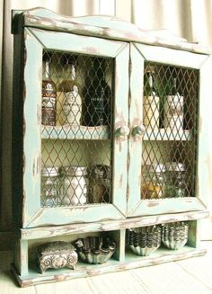 Vintage Spice Cabinet ......... Wooden Handpainted With Mesh Doors