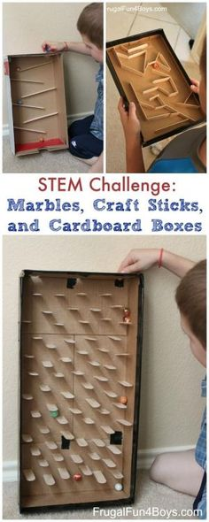 Build a Marble Run with Craft Sticks - Great STEM challenge for kids! Marbles, craft sticks, and cardboard boxes. by florence
