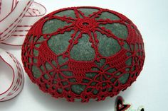 Crocheted Lace Stone Handmade Red Irish Lace by KnotByThreadAlone, $55.00