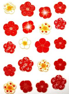 Plum  Blossom Stickers Glittery Red White by FromJapanWithLove, $6.00