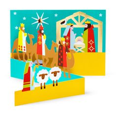 Nativity Scene Holiday Cards - Set of 8 in color Holiday Ornaments, Holiday Cards, Christmas Cards, Pop Up Greeting Cards, Holiday Pops, Design Museum, Little Christmas, Moma, Paper Gifts