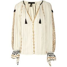 Isabel Marant Jasia sequin-embellished cotton smock top (£385) ❤ liked on Polyvore featuring tops, blouses, shirts, isabel marant, cotton blouses, tie shirt, embroidered blouse, white shirt blouse and white tie blouse