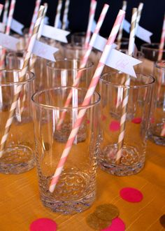 highball glasses with pink and gold paper straws and drink flags from @Katie Schmeltzer Cogbill {Kayden Ashley}
