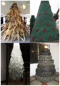 EL MUNDO DEL RECICLAJE: Arboles de navidad con material reciclado