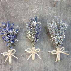 Handmade Wedding Boutonnieres Corsages - Lavender Boutonnieres, Lavender Corsages, Baby's Breath, Twine Rustic