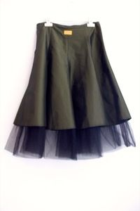 "A unique work of art, this Tuttoo layered skirt just Rocks! A layer on top of heavily shirred silk (olive green colour) and an inside layer of satin with black Tule ending. We can't stop falling in love with this item!Size : 42Waist: 28"" Condition: Excellent"
