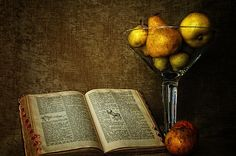 Pears and an Old Book - by Richard Wood