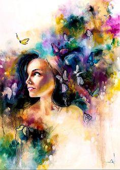 'Vaporous' by Katy Jade Dobson / oil painting / The 21 Grams Collection Abstract Portrait, Portrait Art, Woman Portrait, Art Encadrée, Arte Pop, Female Art, Amazing Art, Watercolor Paintings, Artist Painting