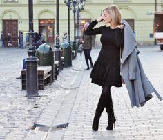 fashionable.com.pl style, fashion, stylizacja, Mango, grey, szary, mała czarna, little black dress, Kraków,