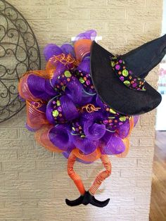 Halloween Wreath, Witch Wreath, Mesh Wreath on Etsy, $65.00