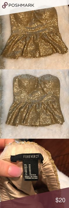 Gold Party Top - New Years Cute, fitted, gold top. Forever 21 Tops