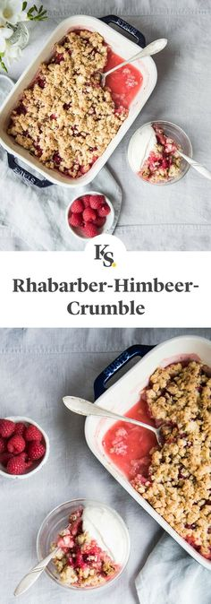 # Spring Recipes This fruity dessert tastes of spring! Raw Dessert Recipes, Low Carb Desserts, Raw Food Recipes, Sweet Recipes, Cooking Recipes, Raspberry Crumble, Rhubarb Desserts, Food Tags, Birthday Cakes