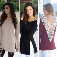 Wish | Women Sexy Lace Back Hollow Knited Top Long Sleeve Cotton  Loose Casual T Shirt