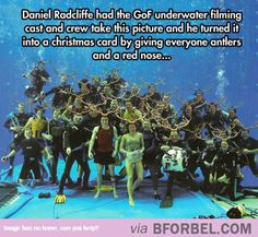 While filming the underwater scenes for Harry Potter and the Goblet of Fire Daniel Radcliffe got a group photo with the cast and crew and then photoshopped antlers and Rudolph noses onto everyone and sent it out as a Christmas card. Harry Potter Hermione, Harry Potter World, Photo Harry Potter, Mundo Harry Potter, Harry Potter Love, Harry Potter Universal, Harry Potter Fandom, Harry Potter Memes, Hogwarts