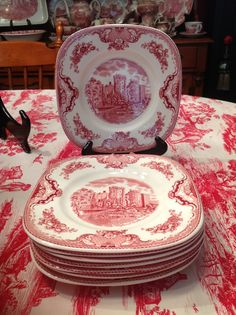 Johnson Bros. Old British Castles, Eight Square Luncheon Plates.