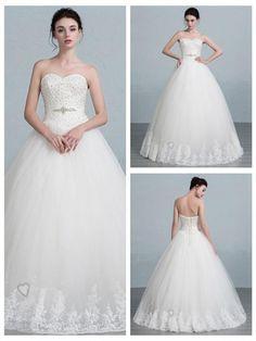 Strapless Beaded Ball Gown Wedding Dress