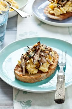 Scrambled Egg Tartines with Parsley and Garlic Mushrooms from tarteletteblog.com.  Gorgeous styling!