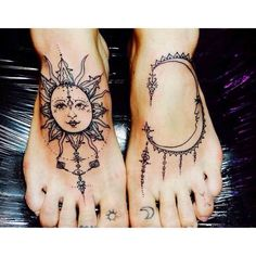Sun And Half Moon Face Tattoo On Feet