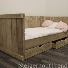 ≥ Steigerhouten tweepersoonsbed steigerhout bed - Slaapkamer ...